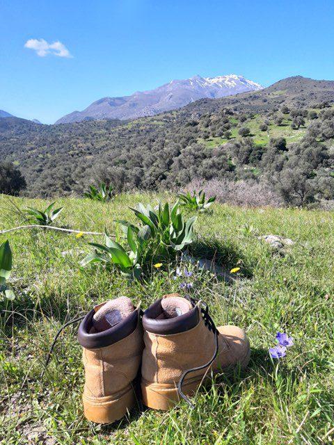 buty na łące widok na szczyt Kedros